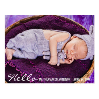 Hello New Baby Photo Announcement Postcard