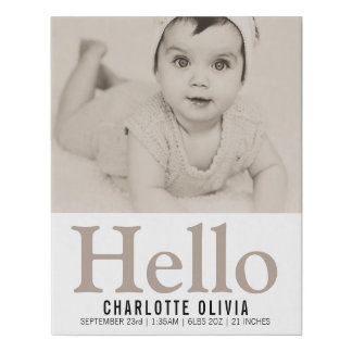 Hello New Baby Taupe Personalized keepsake Faux Canvas Print