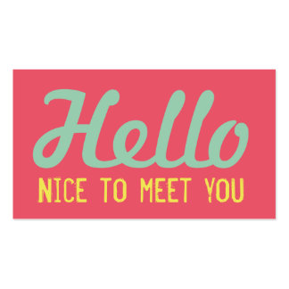 """HELLO Nice to meet you"" Coral Grunge Font Business Card"
