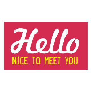 """HELLO Nice to meet you"" Magenta Grunge Font Business Card"