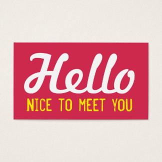 """""""HELLO Nice to meet you"""" Magenta Grunge Font Business Card"""