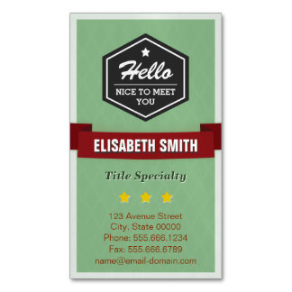 Hello Nice to Meet You - Modern Vintage Stylish Business Card Magnet