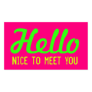 """HELLO Nice to meet you"" Neon Pink Grunge Font Business Card"