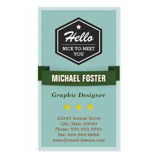 Hello Nice to Meet You - Personal Social Profile Double-Sided Standard Business Cards (Pack Of 100)
