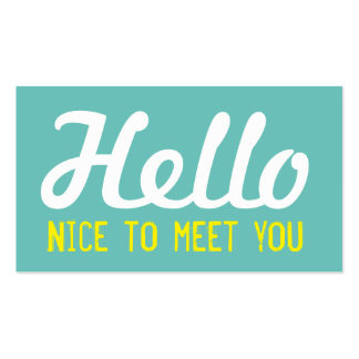 """HELLO Nice to meet you"" Teal Grunge Font Business Card"
