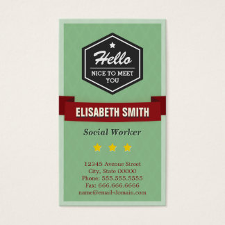 Hello Nice to Meet You - Vintage Retro Stylish Business Card