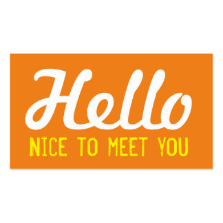 """HELLO Nice to meet you"" Yellow Grunge Font Business Card"