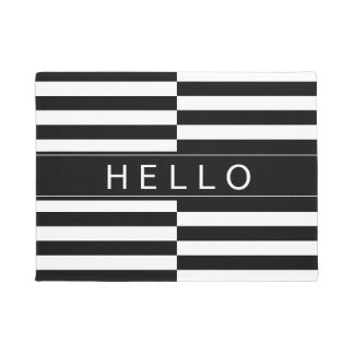 Hello Offset Striped Door Mat