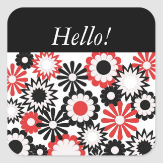 """""""Hello"""" on a red, white and blaxck floral design. Square Sticker"""