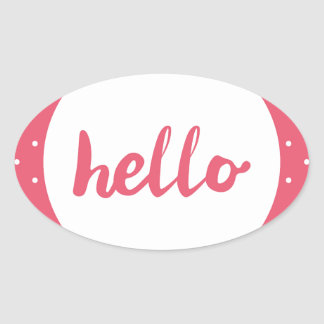 Hello on pastel pink polka dots background oval sticker