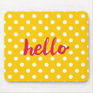Hello on pastel yellow polka dots background mouse pad