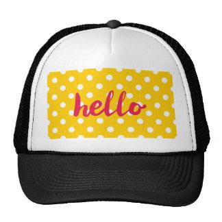 Hello on pastel yellow polka dots background trucker hat