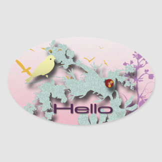 Hello Oval Sticker