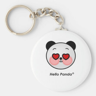Hello Panda heart eyes Basic Round Button Keychain