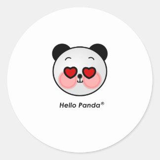 Hello Panda heart eyes Classic Round Sticker