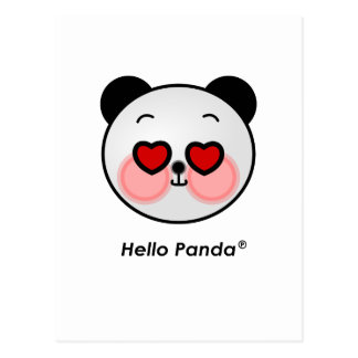 Hello Panda heart eyes Postcard