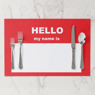 """Hello..."" Paper Placemats"