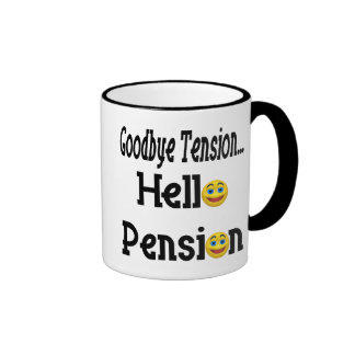 Hello Pension Retirement Gifts and T-shirts Ringer Coffee Mug