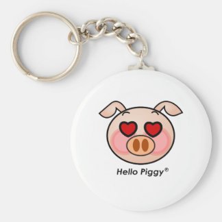 Hello Piggy heart eyes Basic Round Button Keychain