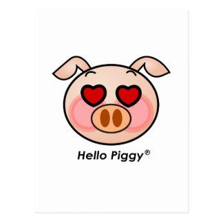 Hello Piggy heart eyes Postcard