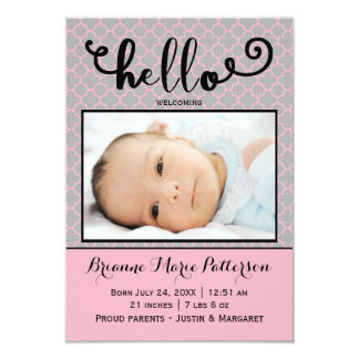 hello pink photo - 3x5 Birth Announcement