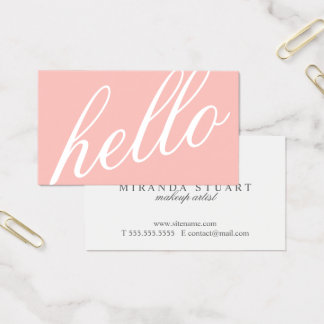 hello modern blush business card