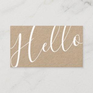Kraft business cards zazzle hello professional modern script kraft paper business card colourmoves