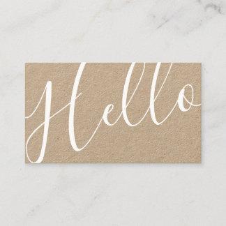 Hello | Professional Modern Script Kraft Paper Business Card
