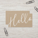 """Hello   Professional Modern Script Kraft Paper Business Card<br><div class=""""desc"""">Hello   Professional Modern Script Kraft Paper Business Card featuring word &quot; hello&quot; in white modern calligraphy font style on front side and details in modern sans serif font style on back side.  Perfect for makeup artist,  hair stylist,  designer,  blogger and many other professions.</div>"""
