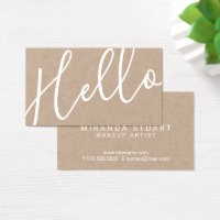 Hello | Professional Modern Script Kraft Paper Business Card