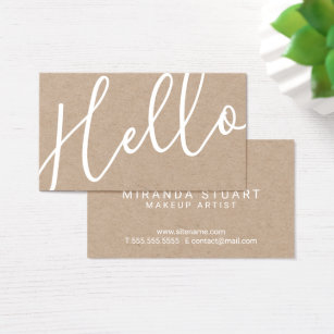 Kraft business cards templates zazzle hello professional modern script kraft paper business card reheart Image collections