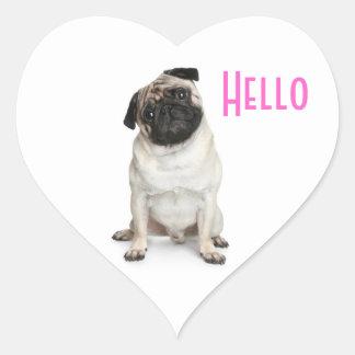 Hello  Pug Puppy Dog Greeting Stickers