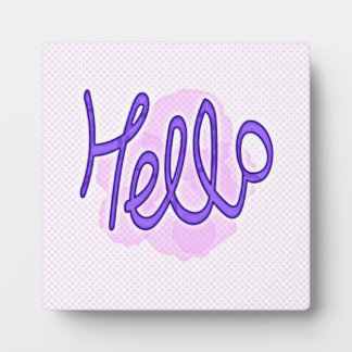 Hello Purple Plaque - 5.25 x 5.25 with Easel