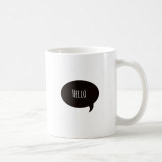 Hello quote in speech bubble coffee mug