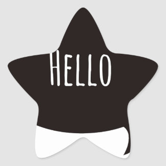 Hello quote in speech bubble star sticker