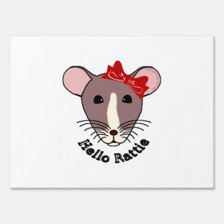 Hello Rattie Lawn Sign