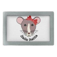 Hello Rattie Rectangular Belt Buckle