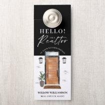 Hello Real Estate Agent Wood Watercolor Front Door Door Hanger