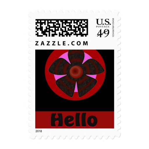 Hello red and black flower postage stamp
