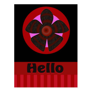 Hello red and black flower postcard