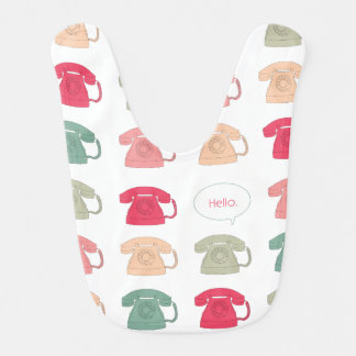 """Hello"" Rotary Phone Pattern Bib"