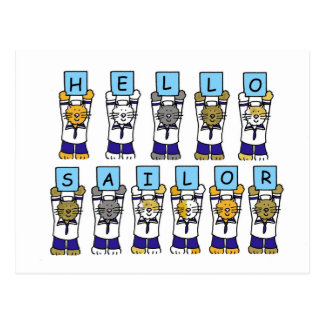 Hello sailor, cartoon cats. postcard