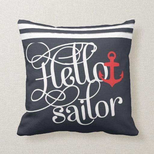 Hello Sailor! Retro Vintage Girly Nautical Throw Pillow