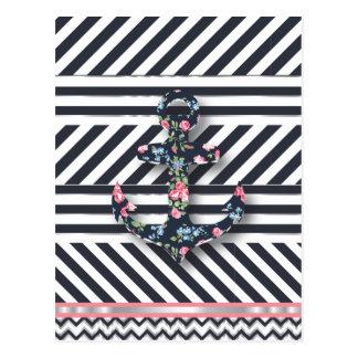 Hello Sailor! Retro Vintage Nautical Floral Anchor Postcard