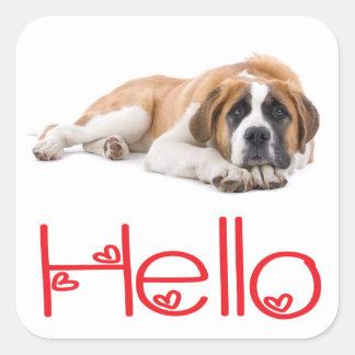 Hello Saint Bernard Puppy Dog Sticker / Seals
