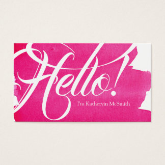 Hello Salutations Pink Stylish Watercolor Wash Business Card