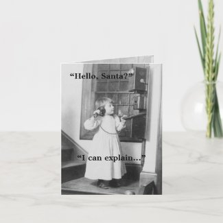 Hello, Santa? - Note Card card