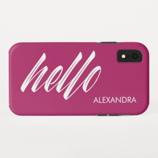 Hello Script and Your Name on Magenta iPhone XR Case