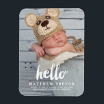 "Hello Script | Baby Birth Announcement Magnet<br><div class=""desc"">Simple Photo Baby Birth Announcement Magnet for a boy or girl. Elke Clarke &#169; Other colors and styles available in our shop at www.zazzle.com/monogramgallery. White script typography with the word &quot;hello&quot; photo overlay design.</div>"