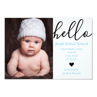Hello Script Photo - 3x5  Birth Announcement